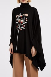 Markus Lupfer Women S Ruffled Frill Floral Poncho Boutique1 Black