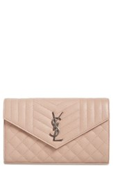 Saint Laurent Women's 'Large Kate' Quilted Calfskin Leather Wallet On A Chain Beige Nude Rose