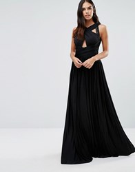 Forever Unique Pandora Slinky Maxi Dress With Cross Front And Embelished Shoulders Black