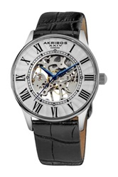 Akribos Xxiv Men's Diamond Slim Mechanical Watch Black