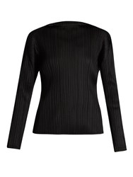 Issey Miyake High Neck Pleated Top Black