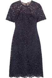 Mikael Aghal Cotton Blend Corded Lace Dress Navy