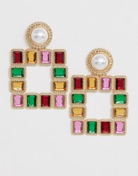 Reclaimed Vintage Inspired Earrings With Coloured Stones And Faux Pearls Multi