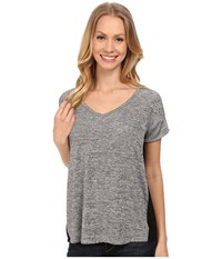 Calvin Klein Jeans Short Sleeve V Neck Keyhole Tee With Foil Urban Ice Heather Women's T Shirt Gray