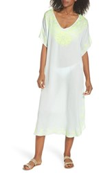 Echo Embroidered Cover Up Caftan Seafoam