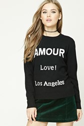 Forever 21 Amour Graphic Sweater Black Cream