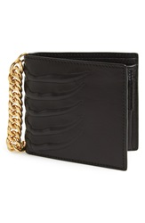 Alexander Mcqueen Rib Cage Chain Leather Wallet Black