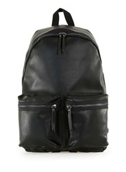 Topman Black Leather Look Backpack