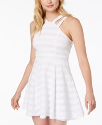 Emerald Sundae Juniors' Double Strap Fit And Flare Dress White