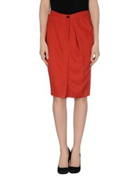 Ready To Fish Knee Length Skirts Brick Red