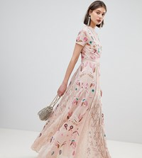 Frock And Frill Allover Embroidered Plunge Front Maxi Dress Cream