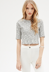 Forever 21 Marled Knit Zippered Crop Top
