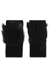 Karl Donoghue Shearling Trimmed Ribbed Cashmere Fingerless Gloves Black