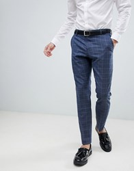 Selected Homme Slim Suit Trouser In Blue Window Pane Check A10047 Navy