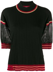 Fendi Contrast Sleeve Ribbed Jumper Black