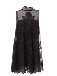 Red Valentino Redvalentino Floral Embroidered Tulle Mini Dress Black