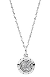 Pandora Design 'Signature' Logo Pendant Necklace Silver Clear