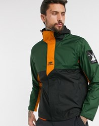 Helly Hansen Yu Rain Jacket In Khaki Orange Green