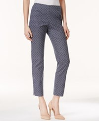 Charter Club Printed Pull On Slim Ankle Pants Only At Macy's Navy White Trellis