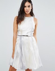 Little Mistress Organza Embroidered Prom Dress Sliver White Silver