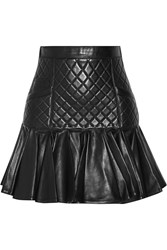 Balmain Quilted Paneled Leather Mini Skirt Black
