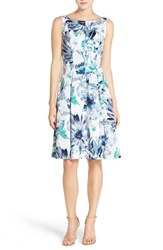 Women's Maggy London Floral Sateen Fit And Flare Dress Blue Grey