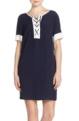 Women's Fraiche By J Tie Neck Short Sleeve Shift Dress