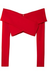 Cushnie Et Ochs Off The Shoulder Cropped Stretch Crepe Top Red