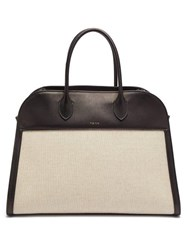 The Row Margaux 15 Large Canvas And Leather Tote Bag Beige Multi