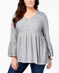 Style And Co Plus Size Patterned Babydoll Tunic Created For Macy's Bold Grey