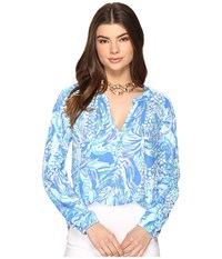Lilly Pulitzer Meg Top Resort White Canopy Chaos Women's Clothing Blue