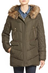 Women's Kensie Faux Fur Trim Hooded Quilted Down And Feather Fill Coat Olive
