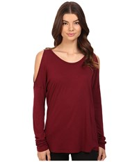 Michael Stars Luxe Slub Long Sleeve Cold Shoulder Tee Pinot Women's T Shirt Red
