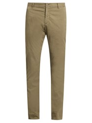 J.W.Brine Owen Cotton Blend Gabardine Chino Trousers Khaki