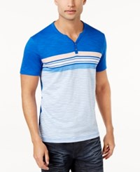 Inc International Concepts Men's Pattern Blocked Henley Only At Macy's Riviera Blue