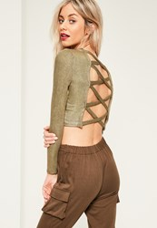 Missguided Gold Ribbed Cross Back Crop Top