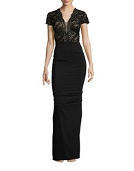 Nicole Bakti Lace Topped Ruffle Back Gown Black