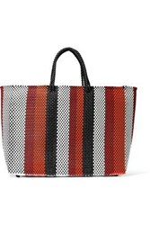 Truss Striped Woven Tote Red