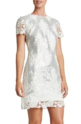 Dress The Population Women's Sequin Lace Minidress White Matte Silver