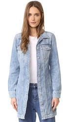 7 For All Mankind Long Trucker Jacket Light Brighton Blue