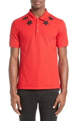 Givenchy Men's Star 74 Cuban Fit Polo Red