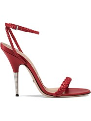 Gucci Braided Leather Sandal Red