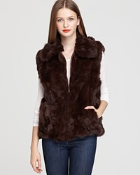 Surell Long Hair Rabbit Vest Brown