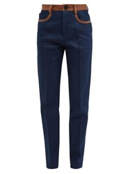 Wales Bonner Leather Trim High Rise Jeans Navy
