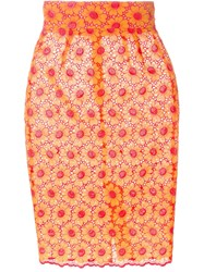 Daizy Shely Floral Lace Pencil Skirt Yellow And Orange