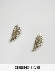 Reclaimed Vintage Sterling Silver Feather Studs Silver