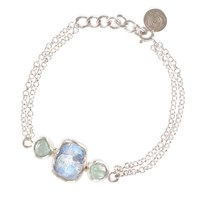 Poppy Jewellery Moonstone And Aquamarine Organic Gemstone Silver Bracelet Blue