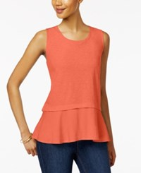 Style And Co Petite Cotton Peplum Top Only At Macy's Coral Bliss