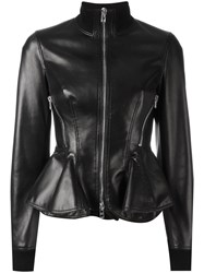 Givenchy Peplum Hem Leather Jacket Black