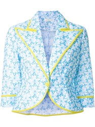 Delpozo Floral Print Cropped Jacket Blue